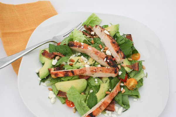mustard grilled chicken salad with avocado and herbs