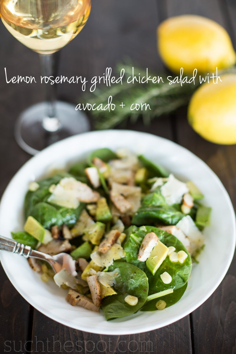 Lemon rosemarey grilled chicken salad with avocado + corn | Such the Spot