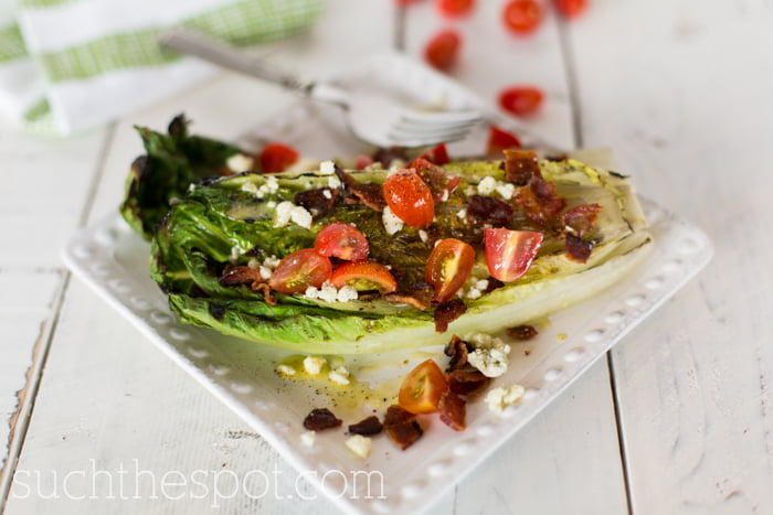 BLT salad with grilled romaine and creamy gorgonzola vinaigrette